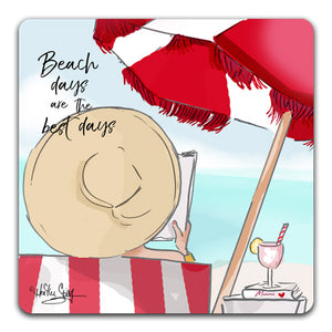 RH1-107 Beach Days Are The Best Days Drink Coasters by Rose Hill Design Studio and CJ Bella Co