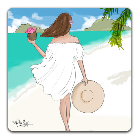 """Beach Walks"" Drink Coaster by Heather Stillufsen"