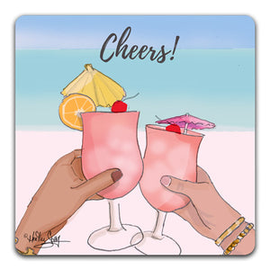 RH1-114-Two-Drinks-clinking-glasses-saying-Cheers-Tabletop-Coaster-by-CJ-Bella-Co-and-Rose-Hill-Design-Studio