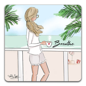 RH1-117-A-woman-drinking-coffee-on-a-balcony-taking-time-to-breathe-Tabletop-Coaster-by-CJ-Bella-Co-and-Rose-Hill-Design-Studio