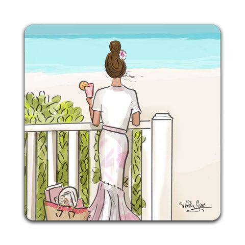 """Woman on a Porch"" Drink Coaster by Heather Stillufsen"