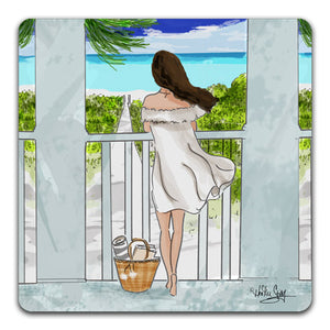 RH1-121-Woman-on-a-veranda-looking-out-at-the-beach-and-ocean-Tabletop-Coaster-by-CJ-Bella-Co-and-Rose-Hill-Design-Studio