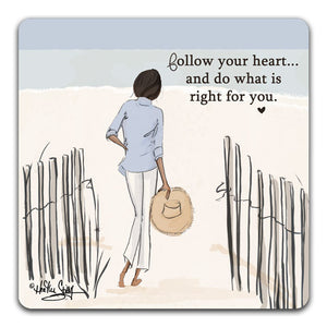 RH1-122-Woman-on-a-beach-by-a-fence-walking-to-the-beach-follow-your-heart-Tabletop-Coaster-by-CJ-Bella-Co-and-Rose-Hill-Design-Studio