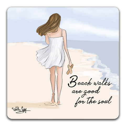 RH1 125 Beach walks are good for the soul girl walking on beach Tabletop Coaster by CJ Bella Co and Rose Hill
