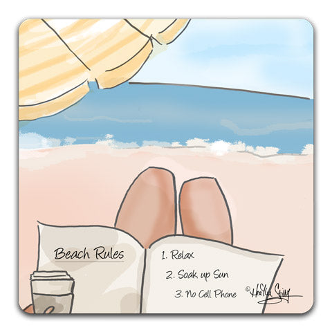 """Beach Rules"" Drink Coaster by Heather Stillufsen"