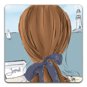 RH1-135-Woman-looking-at-a-lighthouse-writing-in-her-journal-Tabletop-Coaster-by-CJ-Bella-Co-and-Rose-Hill-Design-Studio