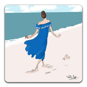 RH1-136-Woman-in-a-blue-dress-walking-with-shells-on-a-beach-Tabletop-Coaster-by-CJ-Bella-Co-and-Rose-Hill-Design-Studio