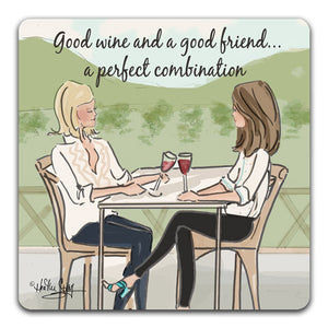 RH1-141-Two-friends-sharing-wine-and-good-company-Tabletopr-Coaster-by-CJ-Bella-Co-and-Rose-Hill-Design-Studio