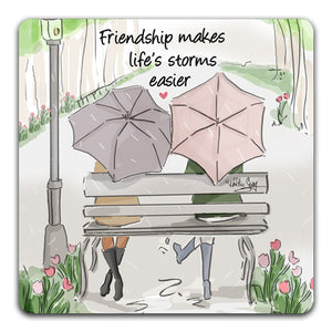 RH1-149-Two-friends-sitting-on-a-bench-in-the-rain-Tabletop-Coaster-by-CJ-Bella-Co-and-Rose-Hill-Design-Studio