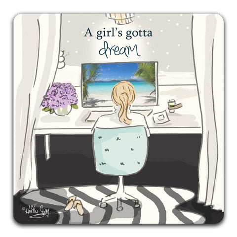 """A Girl's Gotta Dream"" Drink Coasters by Heather Stillufsen"