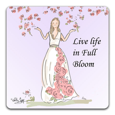 """Live Life in Full Bloom"" Drink Coasters by Heather Stillufsen"