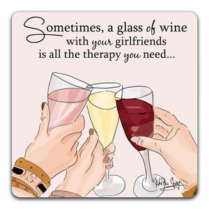 RH1-157-Three-friends-toasting-each-other-with-wine-Tabletop-Coaster-by-CJ-Bella-Co-and-Rose-Hill-Design-Studio