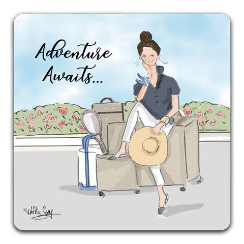 """Adventure Awaits"" Drink Coasters by Heather Stillufsen"