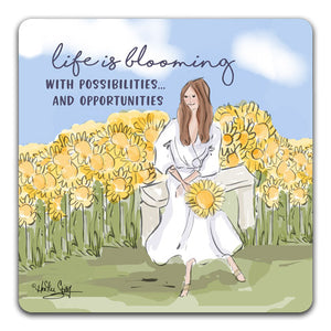 RH1-220-Girl-Sitting-on-Bench-with-Sunflowers-Life-Is-Blooming-Tabletop-Coaster-by-CJ-Bella-Co-and-Rose-Hill-Designs