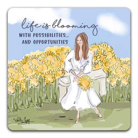 """Life Is Blooming"" Drink Coasters by Heather Stillufsen"