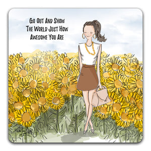 RH1-224-Girl-in-field-of-sunflowers-go-out-and-show-the-world-Tabletop-Coaster-by-CJ-Bella-Co-and-Rose-Hill-Designs