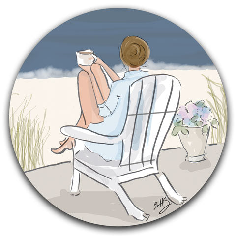 """Relaxing in an Adirondack Chair"" Car Coaster by Heather Stillufsen"