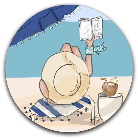 """Reading on the Beach"" Car Coaster by Heather Stillufsen"