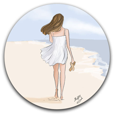 """Beach Walks are Good"" Car Coaster by Heather Stillufsen"