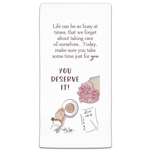 """Life Can be so Busy"" Flour Sack Towel by Heather Stillufsen"