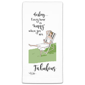 RH3-148 Darling, Every Hour is Happy flour sack towel by Heather Stillufsen and CJ Bella Co.