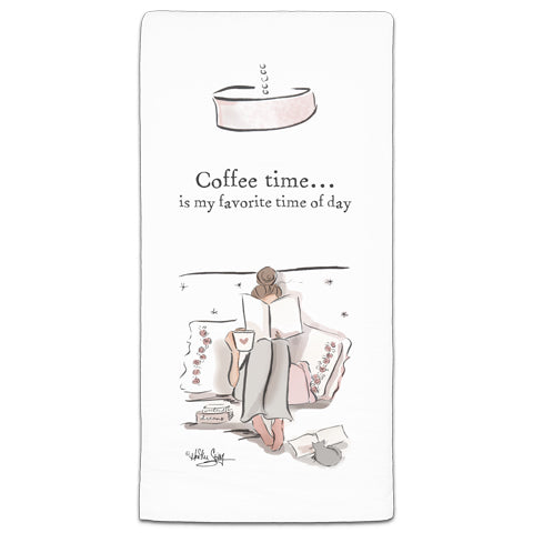 """Coffee Time..."" Flour Sack Towel by Heather Stillufsen"
