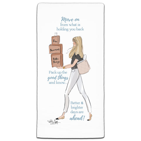 """Move on From What's Holding You Back"" Flour Sack Towel by Heather Stillufsen"