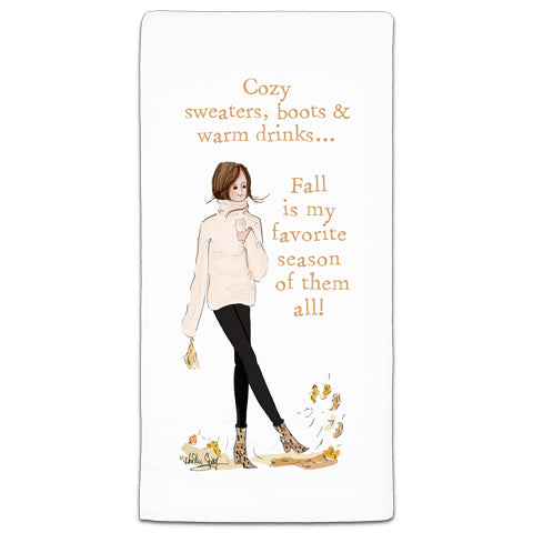 RH3-181 Cozy Sweaters, boots, & warm drinks flour sack towel by Heather Stillufsen and CJ Bella Co.