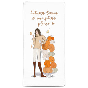 RH3-184 Autumn Leaves and Pumpkins please flour sack towel by Heather Stillufsen and CJ Bella Co.