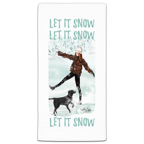 """Let it Snow, Let it Snow, Let it Snow"" Flour Sack Towel by Heather Stillufsen"