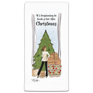 RH3-192 It's Beginning to Look a lot like Christmas flour sack towel by Heather Stillufsen and CJ Bella Co.