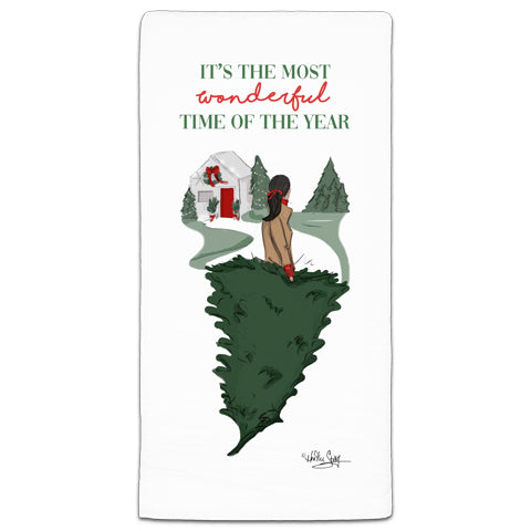 """It's the Most Wonderful Time of the Year"" Flour Sack Towel by Heather Stillufsen"