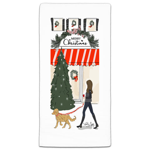 """Merry Christmas"" Flour Sack Towel by Heather Stillufsen"