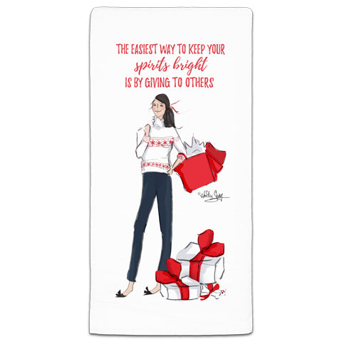 """The Easiest Way to Keep Your Spirits Bright"" Flour Sack Towel by Heather Stillufsen"