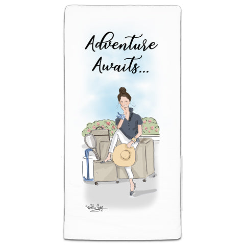"""Adventure Awaits"" Flour Sack Towel by Heather Stillufsen"