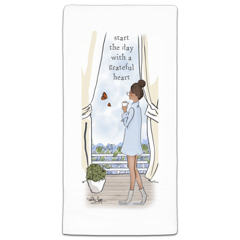 """Start The Day"" Flour Sack Towel by Heather Stillufsen"