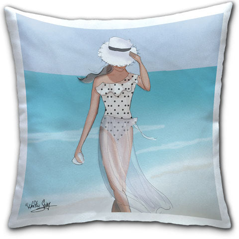 """Woman in Polka Dot Swimsuit"" Pillow by Heather Stillufsen"
