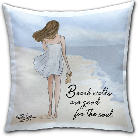 """Beach Walks are Good"" Pillow by Heather Stillufsen"
