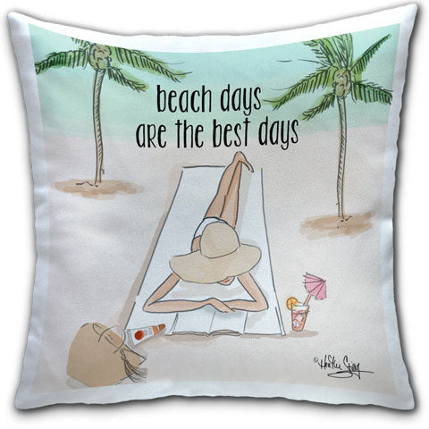 """Beach Days are the Best Days"" Pillow by Heather Stillufsen"