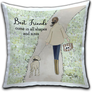 """Best Friends Come In"" Pillow by Heather Stillufsen"