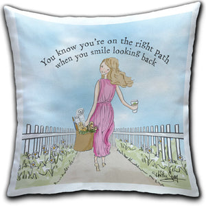 RH4-228-Girl-Walking-with-Fence-You-Know-You're-On-the-Right-Path-Everyday-Pillow-Rose-Hill-CJ-Bella-Co