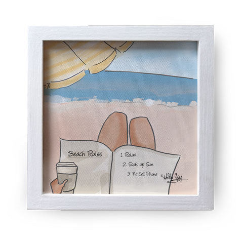 """Beach Rules"" Canvas Box Sign by Heather Stillufsen"