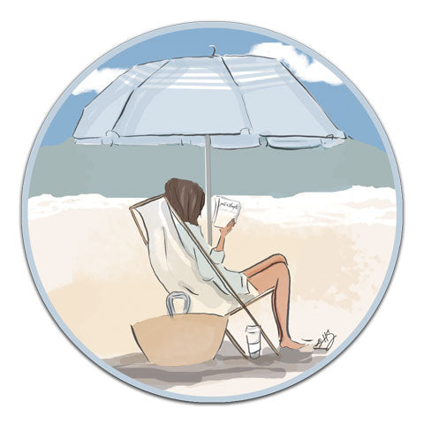 """Reading Under An Umbrella"" Vinyl Decal by Heather Stillufsen"
