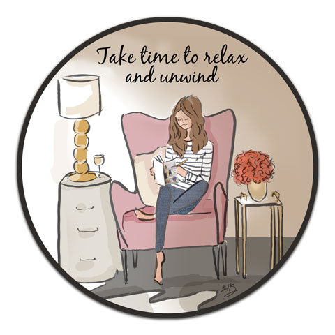 """Take Time To Relax"" Vinyl Decal by Heather Stillufsen"