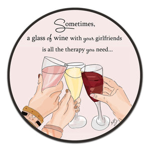 """Sometimes, A Glass"" Vinyl Decal by Heather Stillufsen"