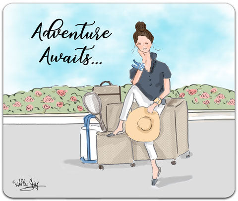 """Adventure Awaits"" Mouse Pad by Heather Stillufsen"