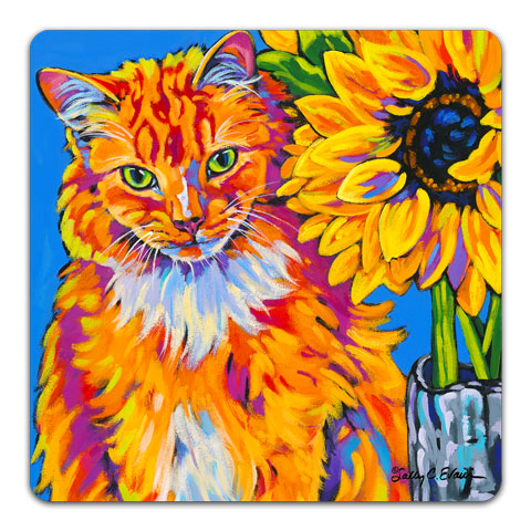 SE1-101-Cat-Sunflower-Orange-Tabby-Table-Top-Coaster-by-Sally-Evans-and-CJ-Bella-Co