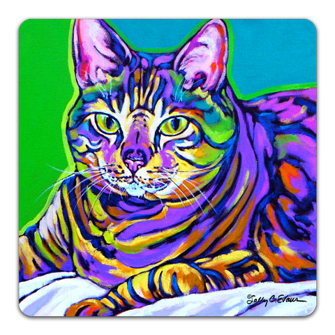 """Cat Misha"" Drink Coaster by Sally Evans"