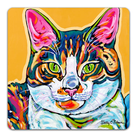 """Cat Charlie"" Drink Coaster by Sally Evans"