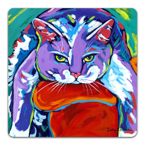 """Cat Hang 10"" Drink Coaster by Sally Evans"